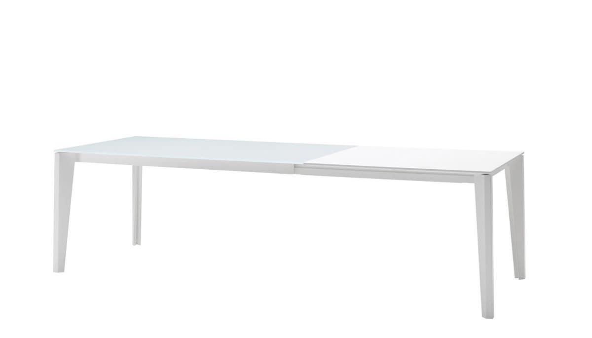 ausziehbarer tisch mit platte aus kratzfestem cristal. Black Bedroom Furniture Sets. Home Design Ideas