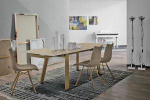 GIOVE 160 TA177, Erweiterbar Metall Tisch, Glasplatte, für die moderne Speiseräume