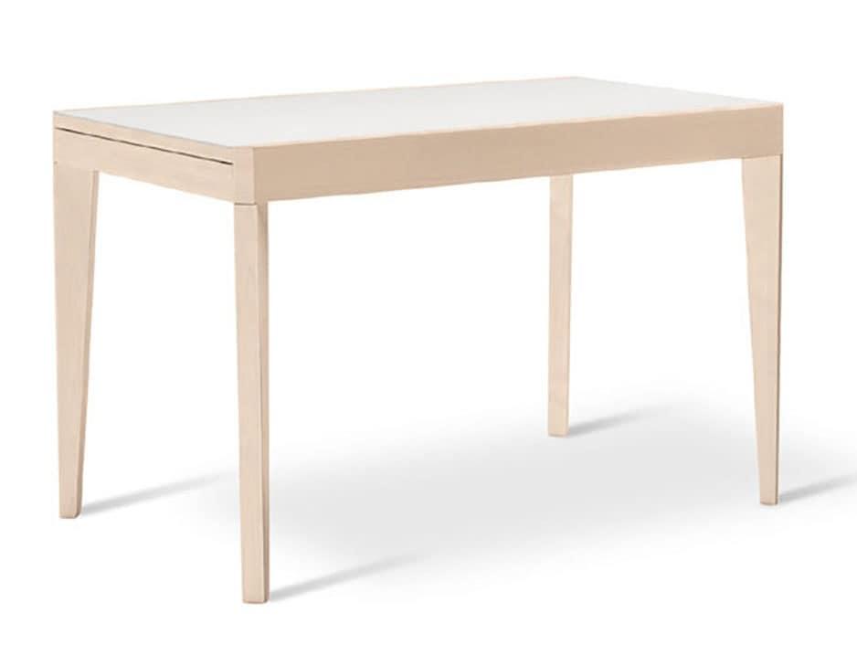 ausziehbarer tisch aus buchenholz mit glasplatte idfdesign. Black Bedroom Furniture Sets. Home Design Ideas