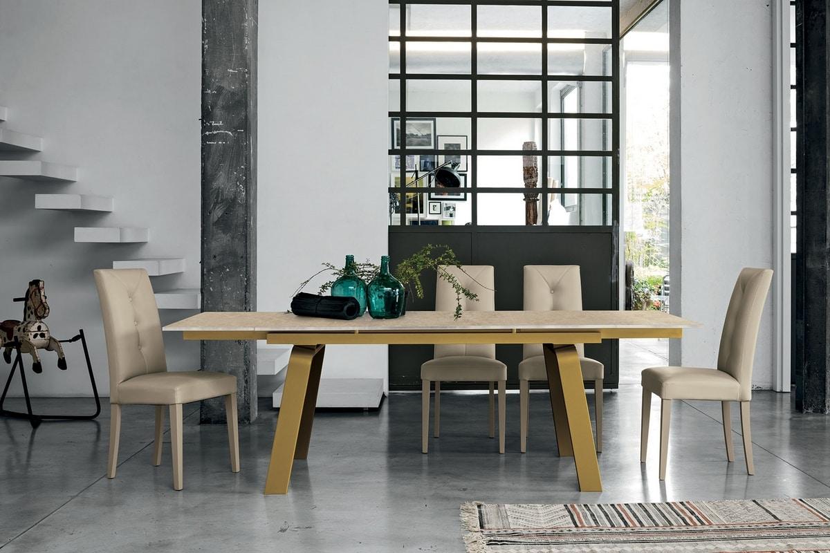 Ausziehbarer Tisch mit Platte und Verlängerungen aus Glas | IDFdesign