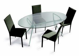 Metro, Tisch mit elliptischer Glasplatte