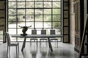 PONENTE 180 TA1A4, Tisch mit Platte und Verlängerungen aus Feinsteinzeug