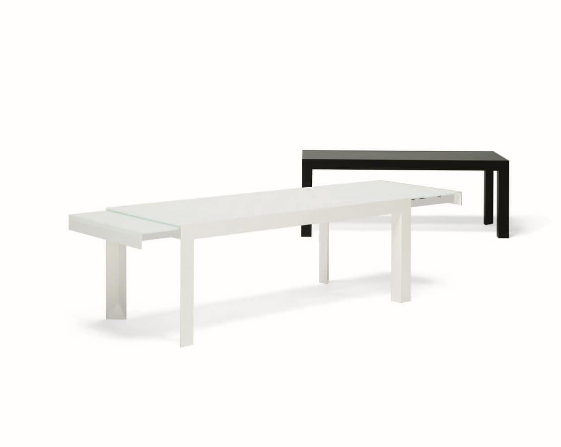 Ausziehbarer Tisch mit Struktur aus lackiertem Metall, Platte aus ...