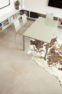 s73 giordano, Ausziehbarer Tisch aus lackiertem Aluminium oder Aluminium- Glattbutt