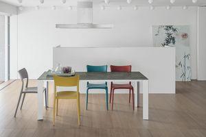 SATURNO 160 TA192, Tisch mit Aluminiumrahmen, gehärtetem Glas, moderner Stil