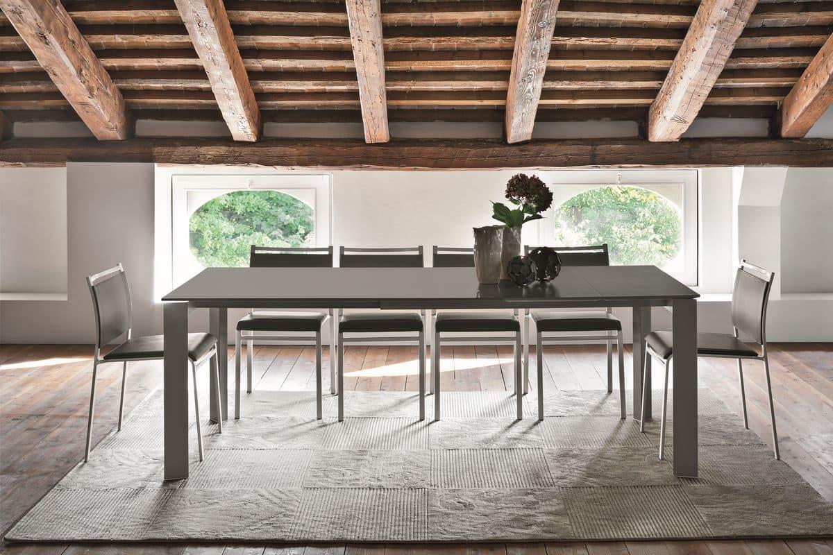 ausziehbarer tisch mit glas f r moderne k chen idfdesign. Black Bedroom Furniture Sets. Home Design Ideas