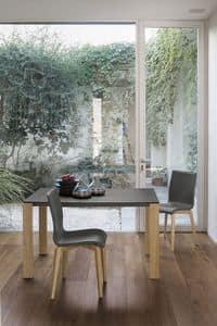 SOLE 110 WOOD TA181, Aluminium ausziehbaren Tisch mit Beinen aus Massivholz, aus gehärtetem Glas