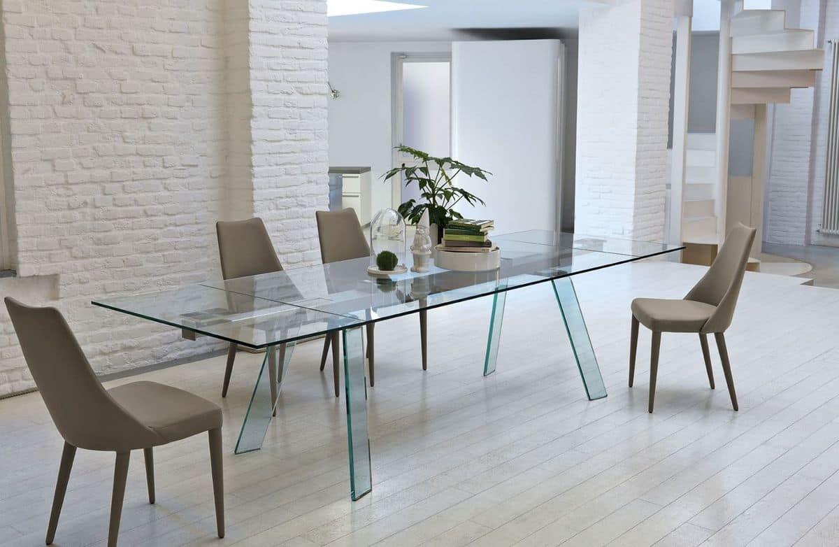 ausziehbarer tisch mit tischplatte aus glas idfdesign. Black Bedroom Furniture Sets. Home Design Ideas