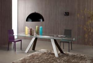 Traverse, Rechteckiger Tisch mit Glasplatte für die Gaststätten
