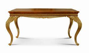 4604/T, Ausziehbarer klassischer Tisch aus geschnitztem Holz