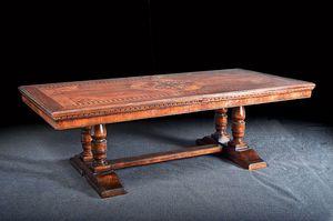 Art. 851 Tisch, Klassisch ausziehbarer Tisch, mit Blumenmuster Einlage