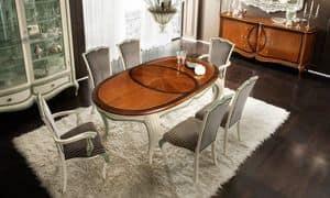 Bourbon Art. 80.063L, Ausziehbarer ovaler Tisch, mit Inlays und Schnitzereien