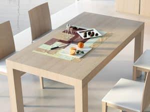 Ergänzungen Tisch 05, Ausziehbarer Holztisch, für den Objektbereich