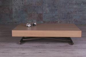 Double, Couchtisch mit Holzplatte, verstellbar und ausziehbar