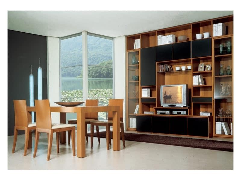 Living room 2, Holztisch mit Verlängerung, modulares Bücherregal mit TV-Ständer, für die Ausstattung von Wohnraum