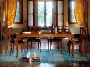 MICHY table extensible 8252T, Ausziehbarer Tisch aus Holz mit Intarsien Beine