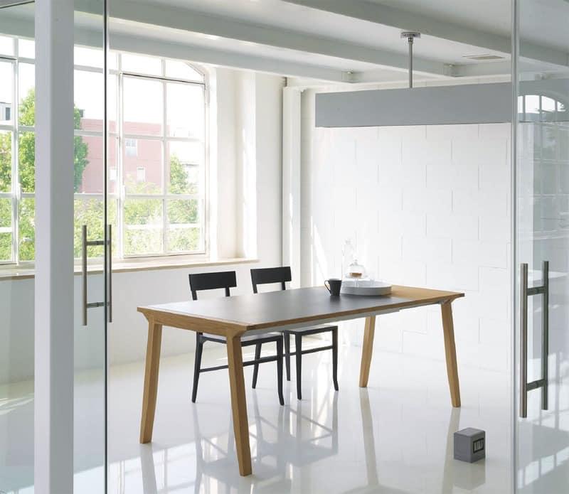 Pigreco, Ausziehbarer Tisch Mit Holzplatte, Für Esszimmer
