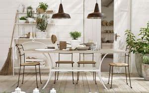 Prado Tisch, Förmigen Eisentisch, ausziehbar Holzplatte