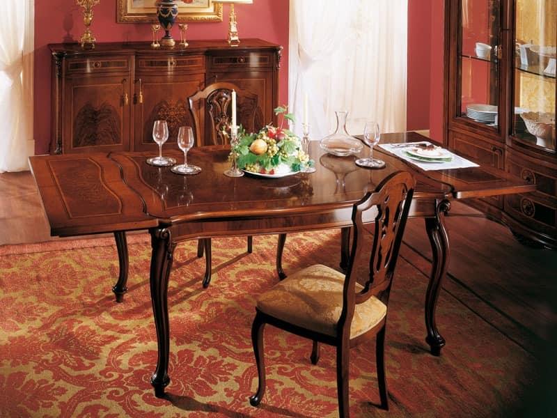 ROYAL NOCE / Extensible rechteckiger Tisch, Rechteckige klassischen Tisch mit Verl�ngerung f�r die Gastst�tten