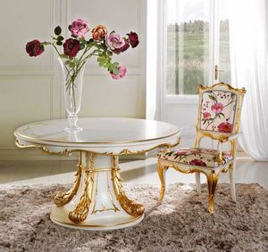 Runder Tisch Delizia, Luxuriöser erweiterbarer runder Tisch