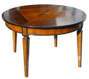 Seggiano ME.0945, Runden Tisch in Nussbaum, erweiterbare, konischen Beinen
