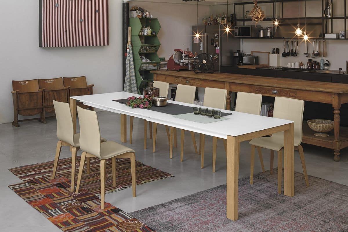 Tisch mit massivholz beinen mit ausziehbarer top f r for Design tisch 140