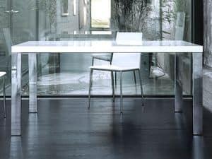 Roma, Rechteckiger Tisch mit Gestell aus verchromtem Stahl, Platte aus PET