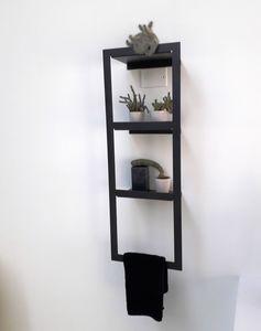 Kiri Full Grey Schrankwand, Badezimmerwandregal mit Handtuchhalter