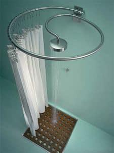 Pluviae, Stahl Dusche mit Kopfbrause und Vorhang