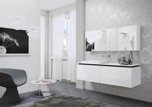Quaderno1 2D comp.1, Badmöbel, lackiert, mit Spiegelschrank