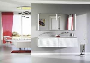 Quaderno1 3D comp.1, Badzusammensetzung lackiert, mit 2 Waschbecken
