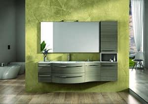 Round AM 120, Möbel fertig in Eiche, Chromgriffe, für Badezimmer