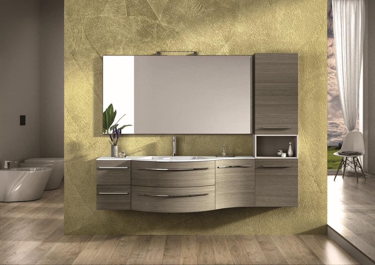 Möbel fertig in Eiche, Chromgriffe, für Badezimmer | IDFdesign