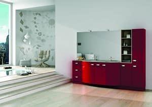 Round AM 122, Möbel für das Badezimmer, mit Schränken, Schubladen und Spiegel