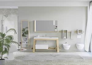 Quaderno1 Bath table comp.1, Schrank in Asche für Badezimmer, mit Spiegel für Bademäntel