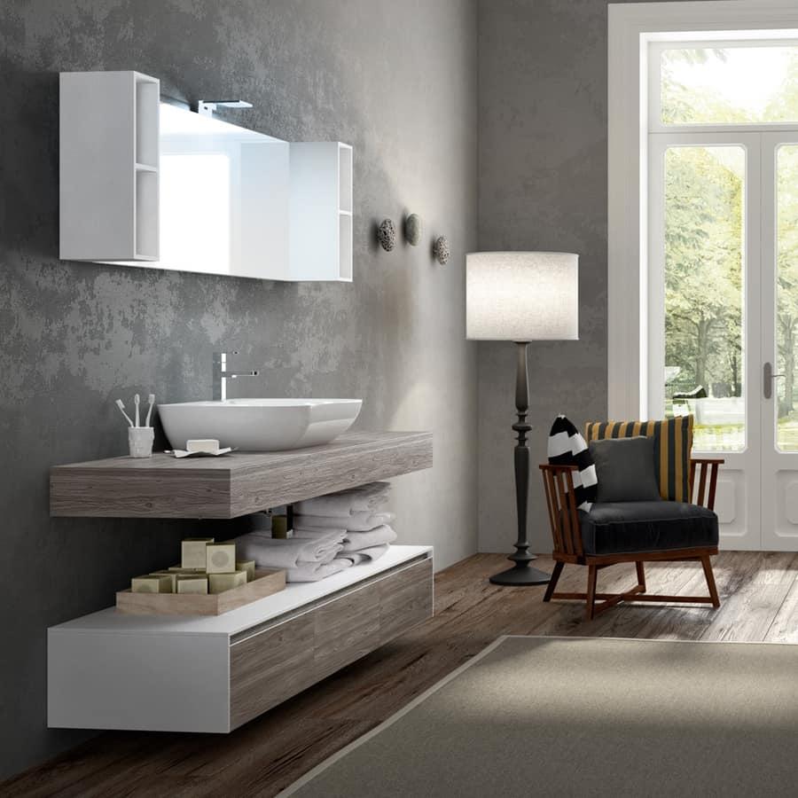 Badezimmer-Schränke mit Holz-Effekt und Keramik-Waschbecken | IDFdesign