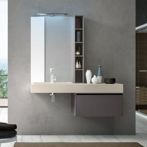 Change comp. 30, Badezimmerschrank mit eingebautem Waschbecken in Harz, für Hotels