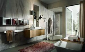 Chrono 307, Zusammensetzung für Badezimmer mit auf Waschbecken, Bibliothek und Spiegel