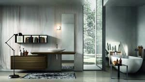 Chrono 309, Möbel für Bad mit Waschbecken und Spiegel