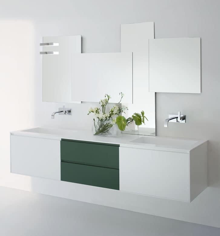 moderne waschbecken schrank mit schubladen in wei en und gr nen farben idfdesign. Black Bedroom Furniture Sets. Home Design Ideas