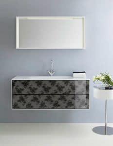 Cocò 03, Badezimmer-Schrank mit Schubladen mit schwarzer Spitze verziert