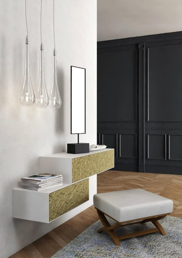 minimalist badezimmerm bel mit zwei waschbecken gold schubladen idfdesign. Black Bedroom Furniture Sets. Home Design Ideas