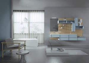 Domino 06, Möbel für Badezimmer, mit Eichentäfelung