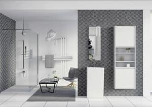 Quaderno2 DO 08, Badmöbel, Spiegel und Kleiderschrank mit Regalen