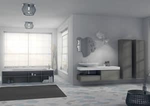Domino 11, Badmöbel, mit Original-Spiegel und Waschbecken