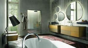 Enea 314, Zusammensetzung der Badezimmermöbel, Farbe Creme und Senf