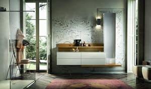 Enea 315, Möbel für Bad mit Täfelung und Säule mit Spiegel