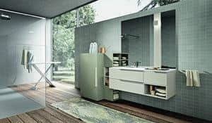 Giunone 414, Badezimmermöbel Zusammensetzung mit einem Schrank für die Waschmaschine