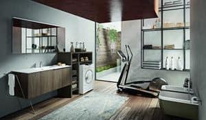 Giunone 417, Badezimmer-Schrank mit verschiedenem Zubehör und Spiegel