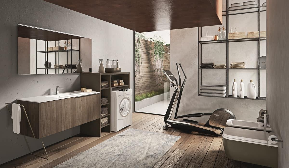 Badezimmer Schrank Mit Verschiedenem Zubehör Und Spiegel Idfdesign